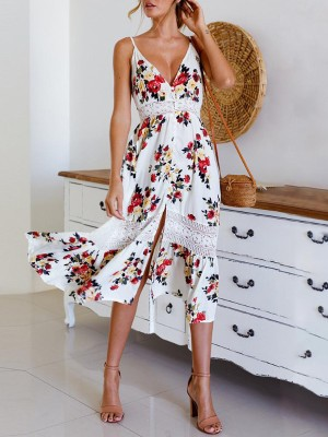 Slit Lace Insert Buttoned Front Floral Maxi Dress
