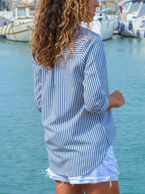 Striped Button Open Curved Hem Casual Blouse