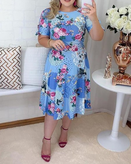 Plus Size Floral Print Tied Detail Short Sleeve Casual Dress