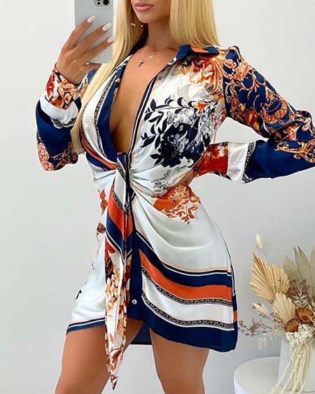 Scarf Print Long Sleeve Shirt Dress