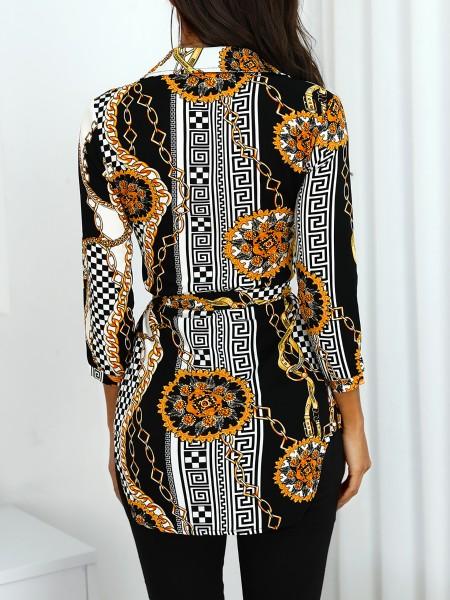 Scarf Print Tied Waist Shirt Dress