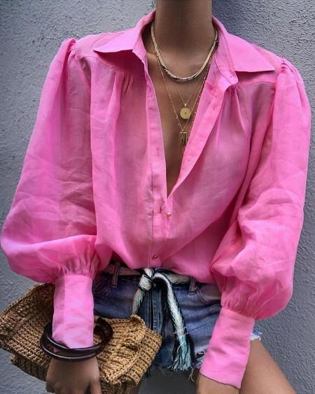 Solid Lantern Sleeve Casual Shirt
