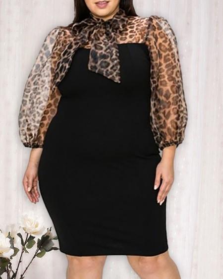 Plus Size Leopard Print Patchwork Bodycon Dress