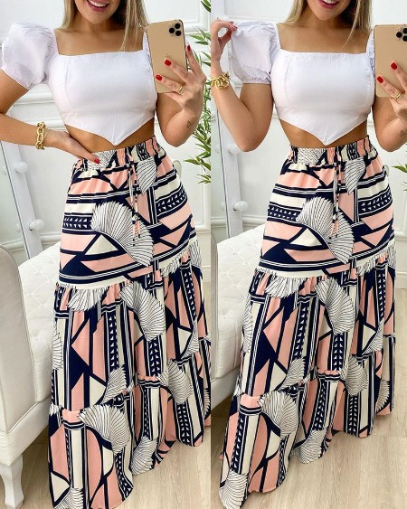 Puff Sleeve Crop Top & All Over Print Maxi Skirt Sets