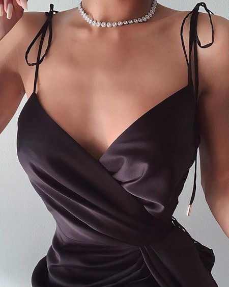 Spaghetti Strap Satin Wrap Dress