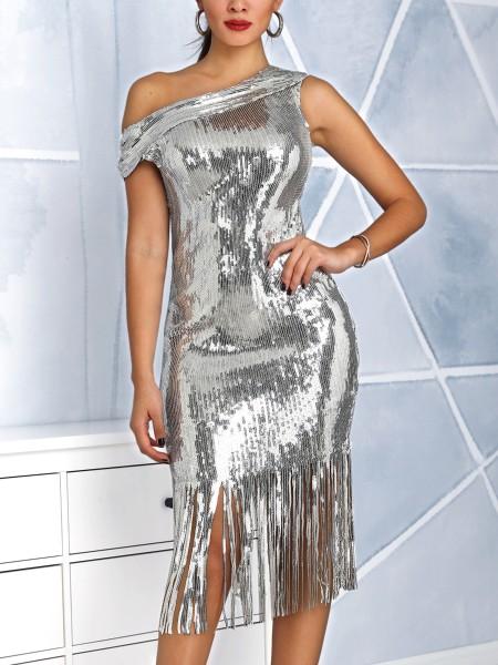 Shiny Tassel Irregular Hem Sequin Party Dress