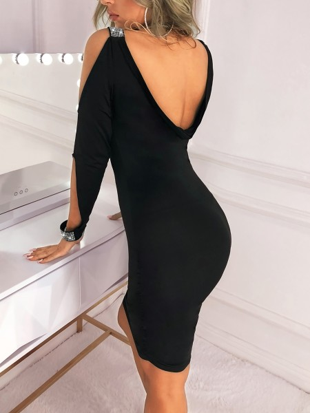 Cut Out Sleeve Glitter Splicing Bodycon Dress