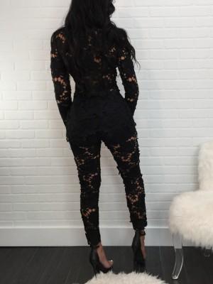 Lace Crochet Open Front Blazer Pants Set