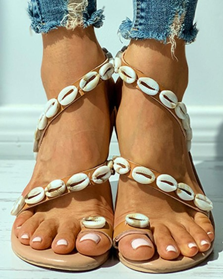Shell Pattern Toe Post Flat Sandals