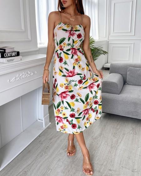 Floral Print Bowknot Beaded Decor Dress