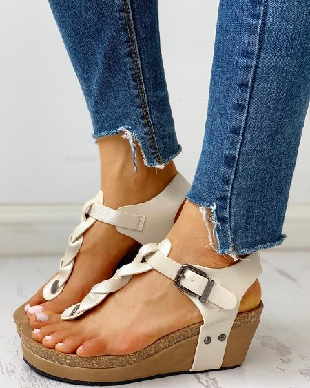 boutiquefeel / Rivet Design Toe Post Wedge Sandals