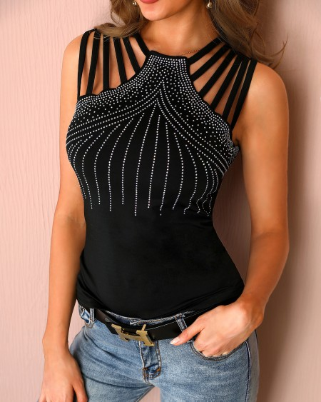 Studded Detail Multi-Strap Casual Blouse