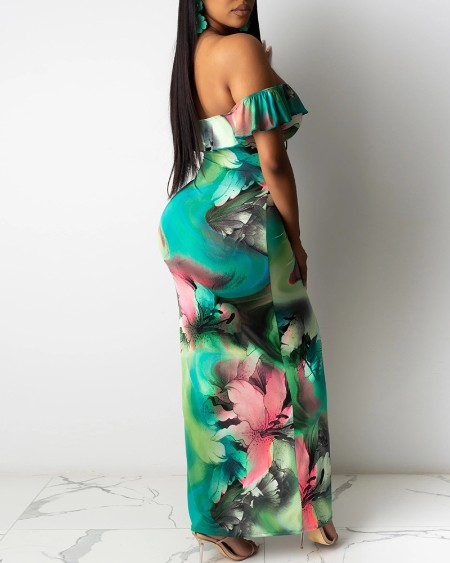Tie Dye Floral Print High Slit Ruffles Maxi Dress