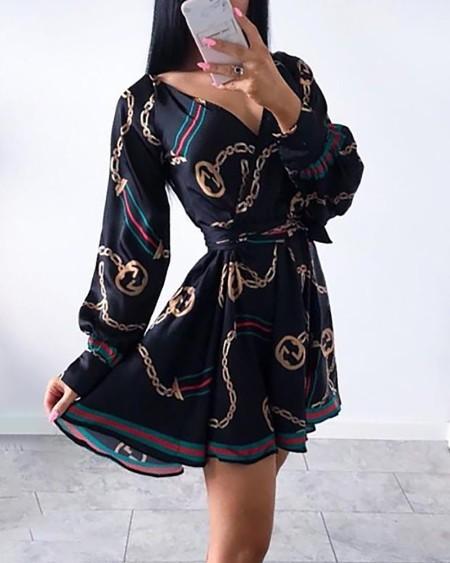 Chain Print Lantern Sleeve Casual Dress