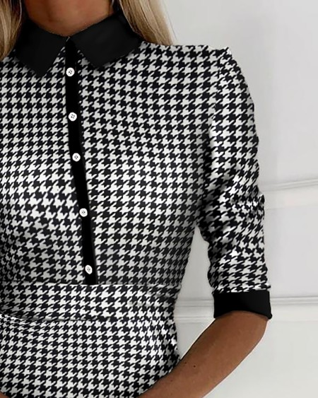 Houndstooth Buttoned Half Sleeve Casual Dress