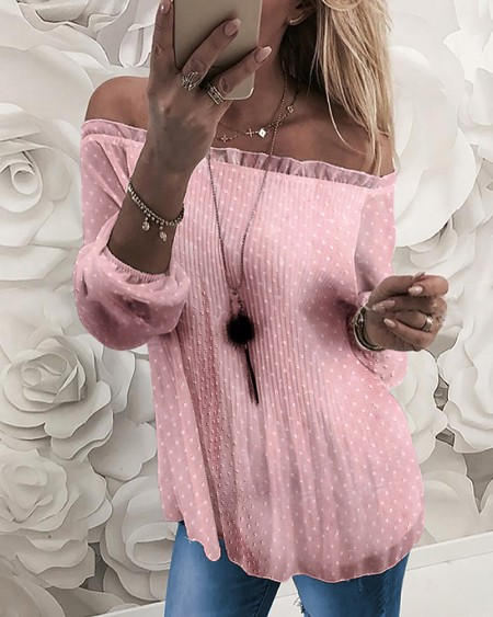 Off Shoulder Swiss Dot Frill Hem Blouse