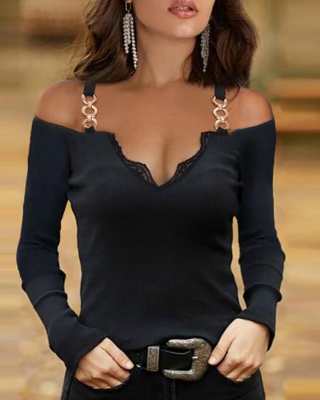 Lace Trim Cold Shoulder Chain Strap Top