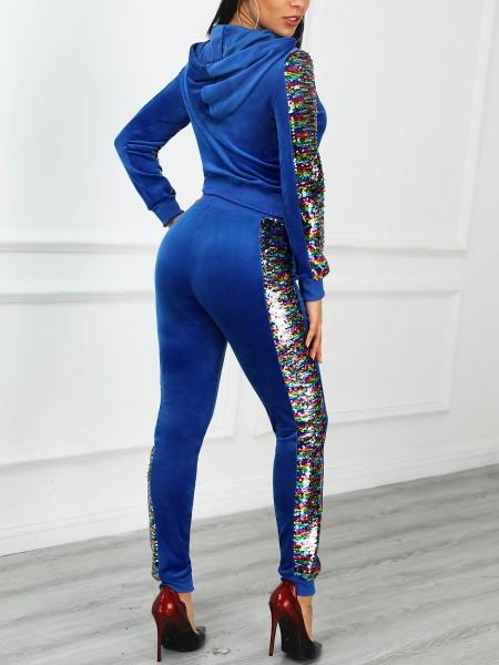 Contrast Sequin Insert Velvet Hooded Top & Pant Sets