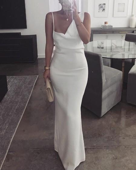 Solid Asymmetrical Neck Evening Dress