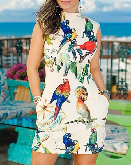 Sleeveless Bird Print Casual Dress