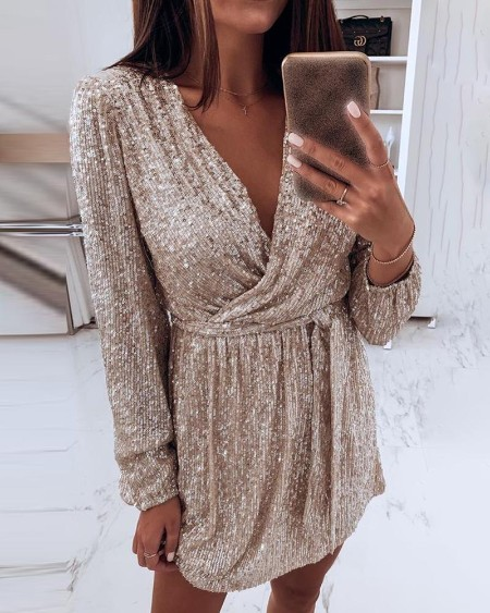 Sequin V-Neck Long Sleeve Wrap Dress