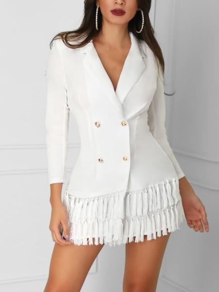 Double-Breasted Tassel Hem Blazer Dress