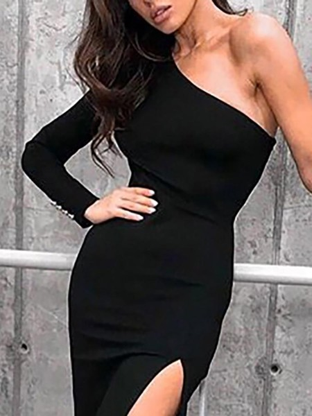 One Long Sleeve Thigh Slit Party Dress