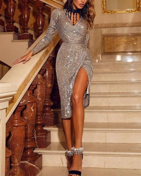 V Neck Sequined Slit Midi Dress