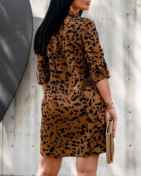 Colorblock Button Front Side Slit Shirt Dress