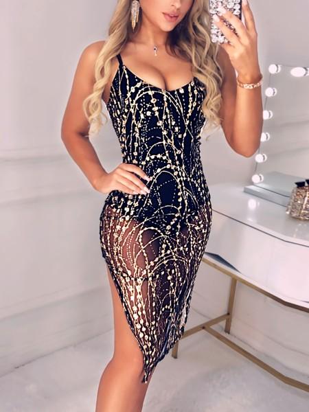 Spaghetti Strap Side Slit Sequin Party Dress