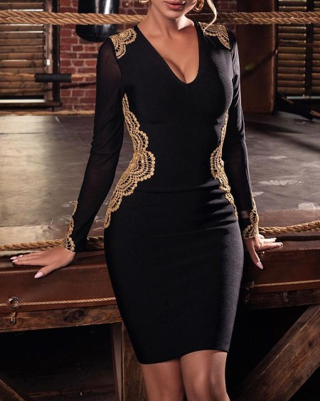 Solid Patchwork Lace Design Bodycon Dress