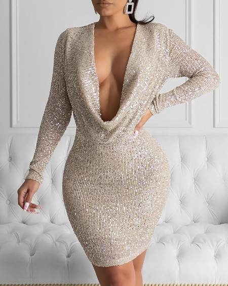 boutiquefeel / Glitter Plunge Long Sleeve Sequins Bodycon Dress