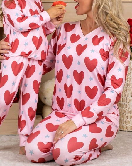 Heart Print Long Sleeve Loose T-shirt With Pants Suit Sets