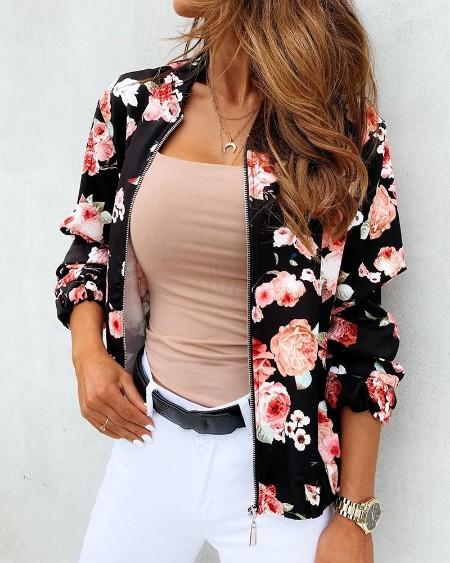 Floral Print Zipper Design Long Sleeve Jacket