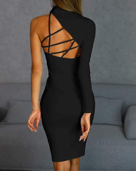 Beaded One Sleeve Lace-Up Back Bodycon Dress
