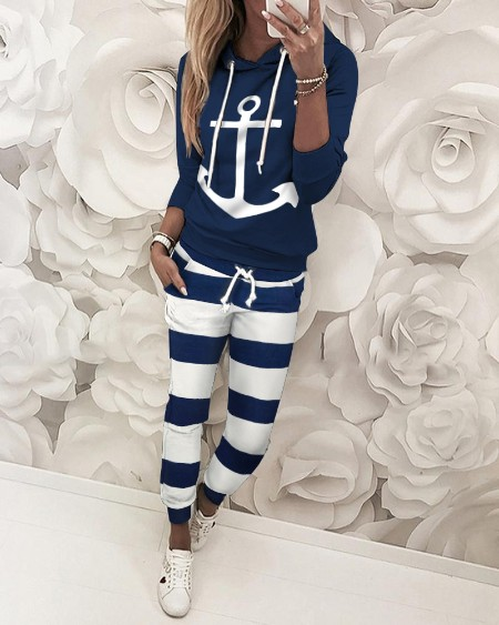 Boat Anchor Print Striped Hooded Top & Pant Sets