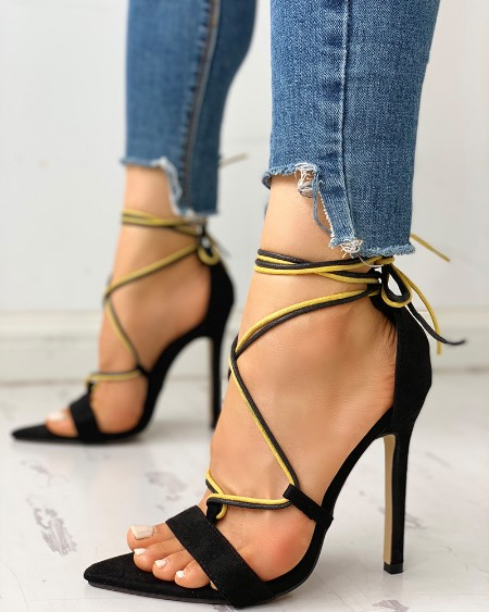 boutiquefeel / Open Toed Bandage Lace-Up Thin Heeled Sandals