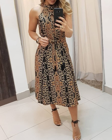 High Neck Baroque Print Sleeveless Dress