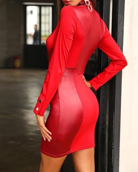 Coated PU Insert Zipper Design Dress