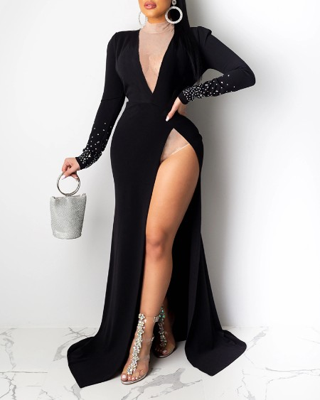 boutiquefeel / Hot Stamping Plunge Long Sleeve High Slit Dress