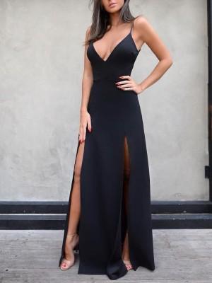 Solid Deep V High Slit Slip Maxi Dress