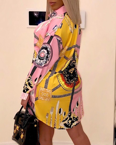 Long Sleeve Ethnic Print Shirt Dress