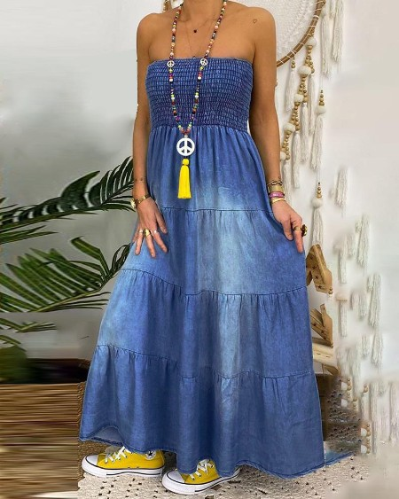 Shirring Design Bandeau Denim Maxi Dress