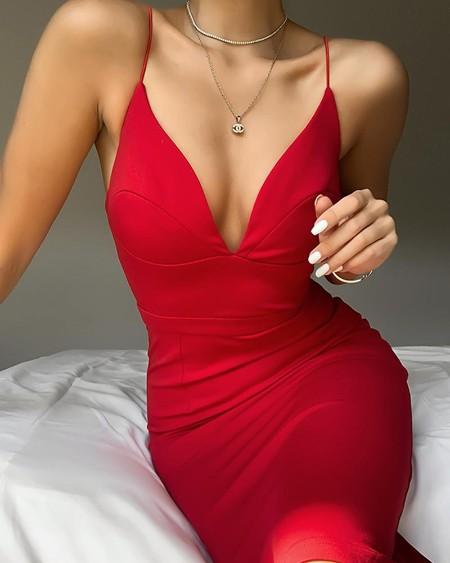 Bodycon Spaghetti Strap Midi Dress