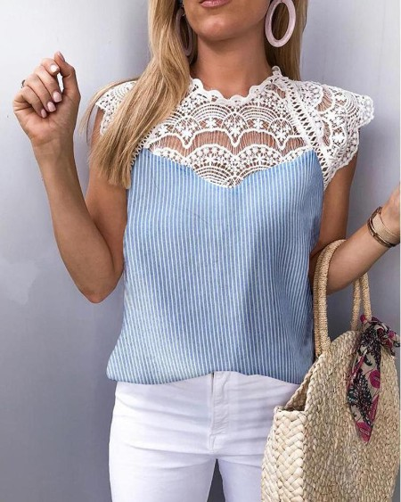 Striped Crochet Lace Hollow Out Blouse