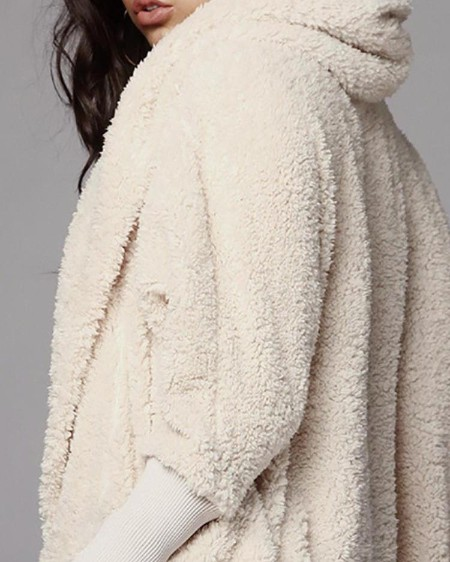 Fluffy Hooded Open Front Teddy Coat & Short Sets