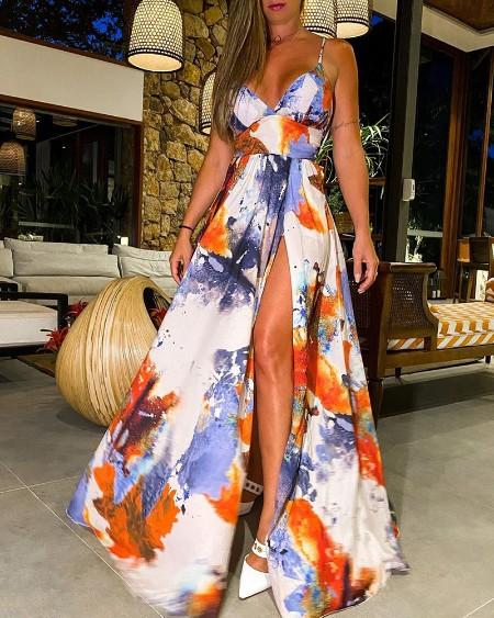 Tie Dye Print Deep V Neck Spaghetti Strap Dress