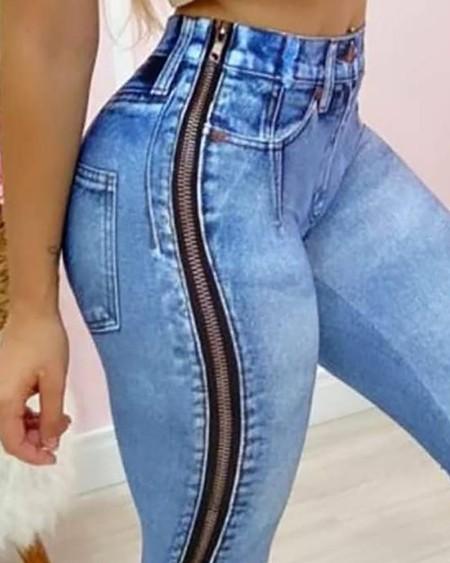 High Waist Zipper Design Skinny Jeans