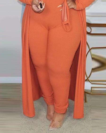 Plus Size Ribbed Plain Crop Top & Pants Set With Coat & Mask