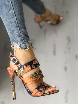 3e067019c6e Peacock Feather Print T-Strap Thin Heeled Sandals.  43.99 ·  